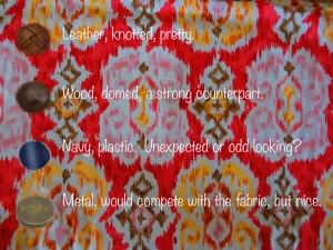 Pink Ikat Fabric Buttons