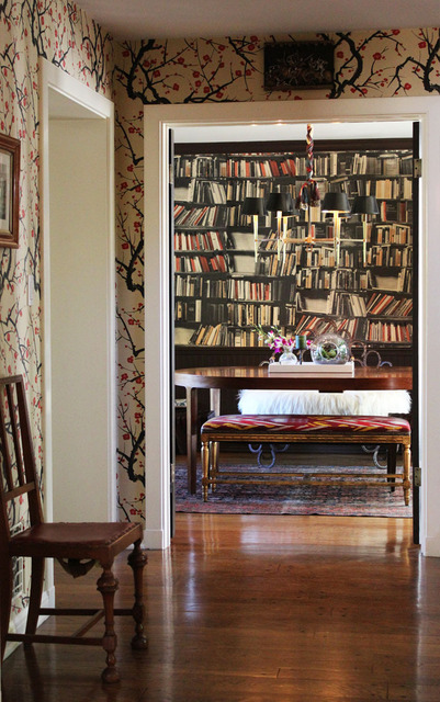 A view of LBG's house (and my favorite Clarence House wallpaper of all time), via Apartment Therapy