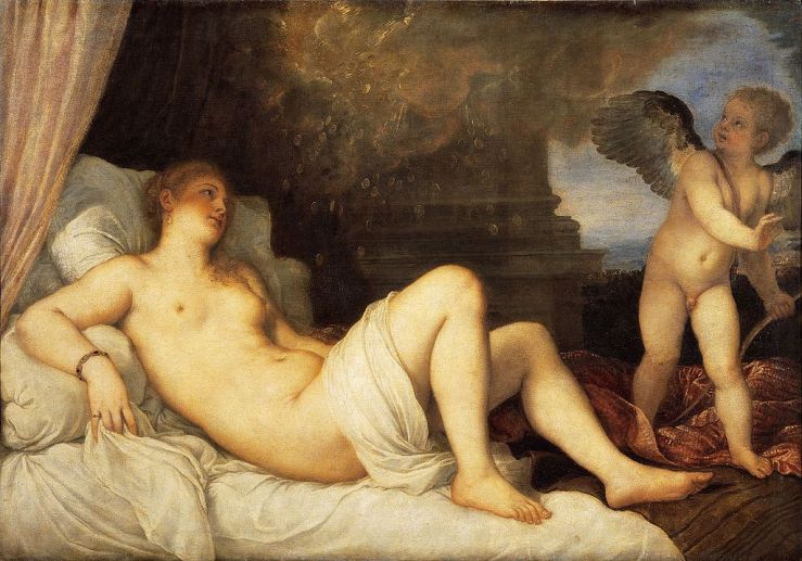 Titian's Danaë with young Eros.