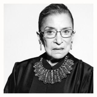 The Notorious RBG in a Banana Republic bib necklace she got in  the swag bag from Glamour's Women of the Year party.